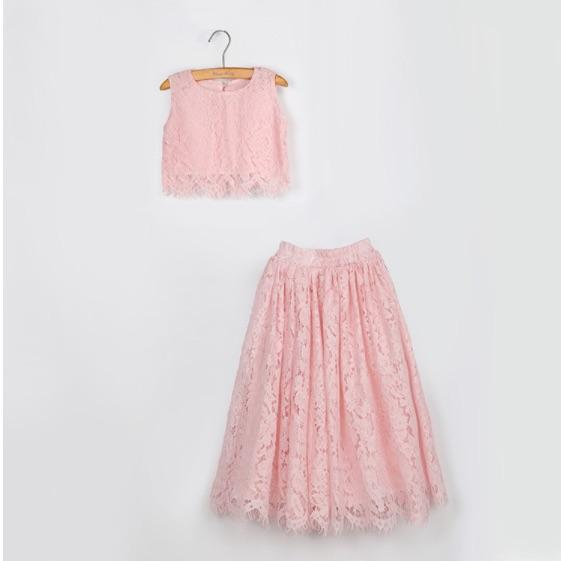 Vieeoease Girls Sets Leaf Kids Clothing 2020 new Spring Summer Straps Top + Skirt Children Outfits 2 pcs