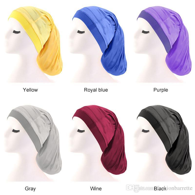 Yeni Unisex geniş elastik bant Saten Cep Bonnet ipeksi dreadlock örgüler baggy kap Uzun Silindir Uyku Kap Saç aksesuarları