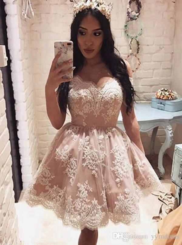 Blush Pink Short Party Dresses Prom Dress 2019 Modest Off Shoulder Lace Knee Length Satin Arabic Cheap Cocktail Gowns Custom Made Dress Sexy Dress