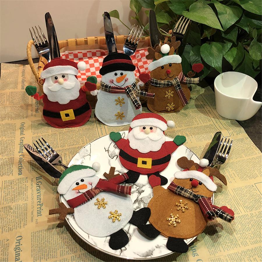 Silberwaren Besteck Halter Sankt-Schneemann Elk Gabel-Messer-Taschen Bestecke Anzug Dinner Tischdekoration des neuen Jahres Weihnachtsschmuck JK1910