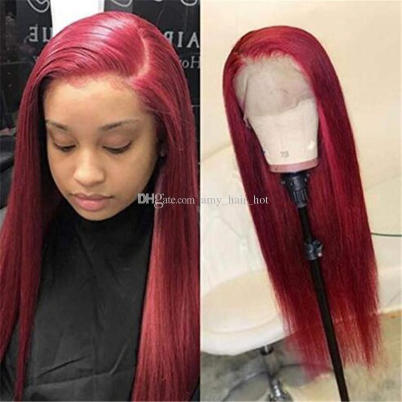 99J Color Straight Lace Front Human Hair Wigs Free Part Virgin Brazilian Human Hair Full Lace Wigs Red Color Lace Front Wigs