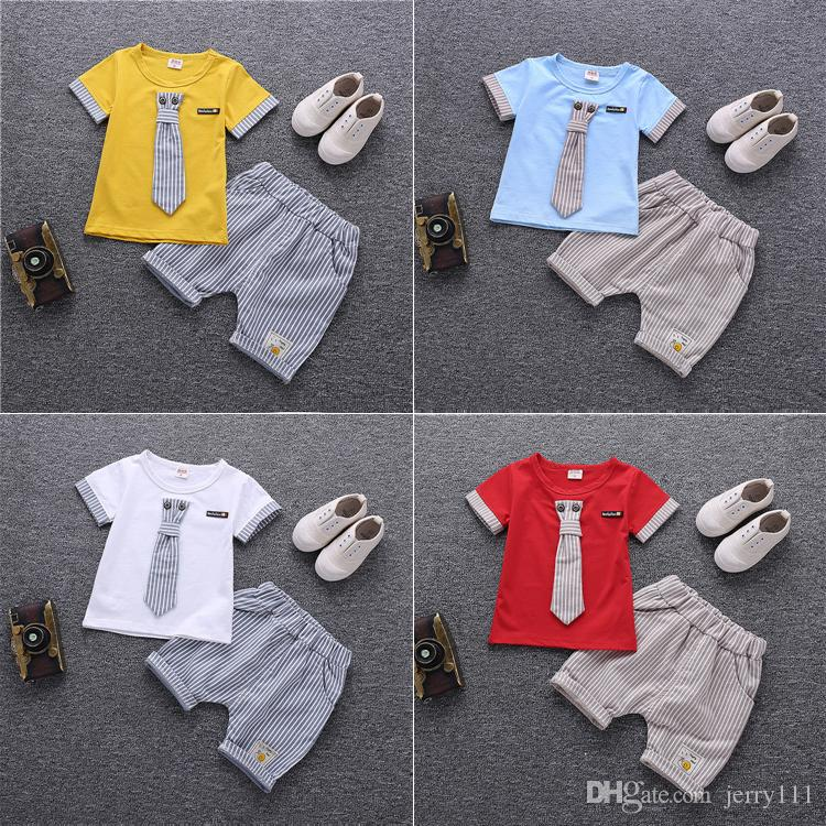 4 colors Summer T-shirt + Shorts 2 Piece Sets kids clothes Short Sleeve Cartoon T-shirt striped Shorts kids designer clothes boys DHL JY187