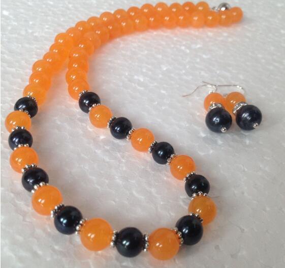 Jewelryr 옥 세트 7-8 밀리미터 천연 블랙 아코 야 경작 된 진주 / 오렌지 목걸이 귀걸이 세트 무료 배송