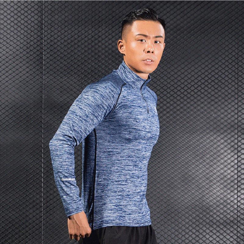 Los hombres se divierte la camiseta de secado rápido flexible buena condición física de tela Formación Exerceise El uso masculino transpirable de manga larga camisas