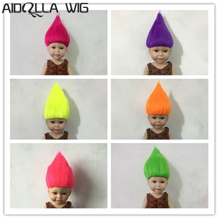 "Resistente al calor 25-28 cm Cabeza Círculo Muñeca Muñeca para 18 ""Muñecas American Doll 6 Colores Cabello Corto Troll Pelucas Muñeca Muñeca Aidolla"