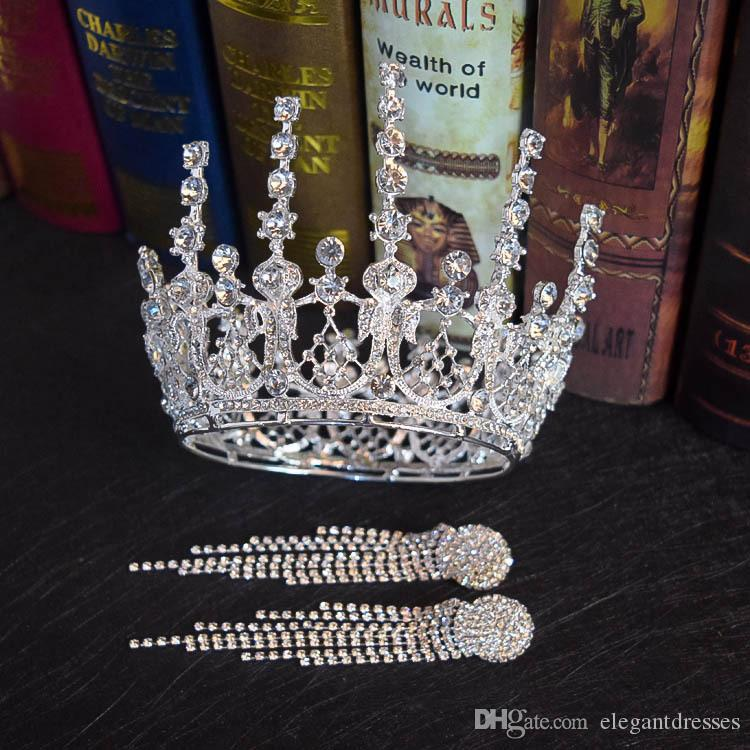 Baroque Royal Queen Golden Silver Bride Crown Earring Sets Diamond Crown Headdress Bling Bling Crystal Beaded Top Sale Women Jewelry Sets