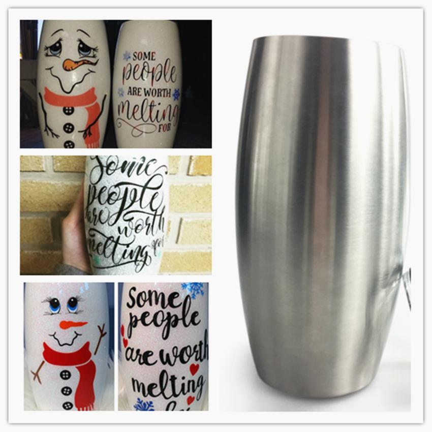 Cheapest!!!Stemless Snowman Tumbler Football Tumbler Wine Glass 25oz Stainless Steel Double Wall Vacuum Insulated Wine Tumbler WXX8