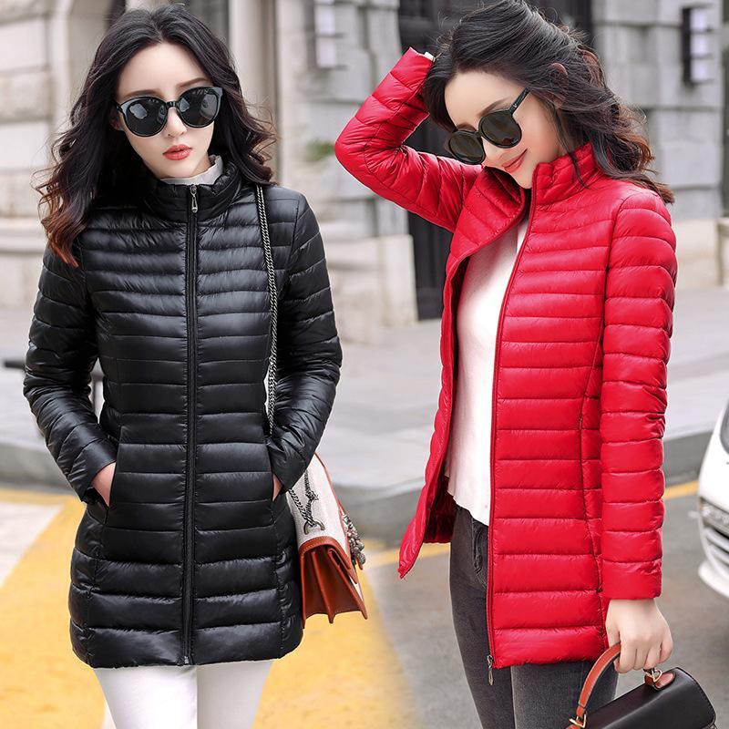 Autunno Inverno Le donne di base del rivestimento del cappotto femminile Slim con cappuccio del cotone di marca cappotti femminile casuale medio-lungo Giacche Jaqueta Feminina CJ191214