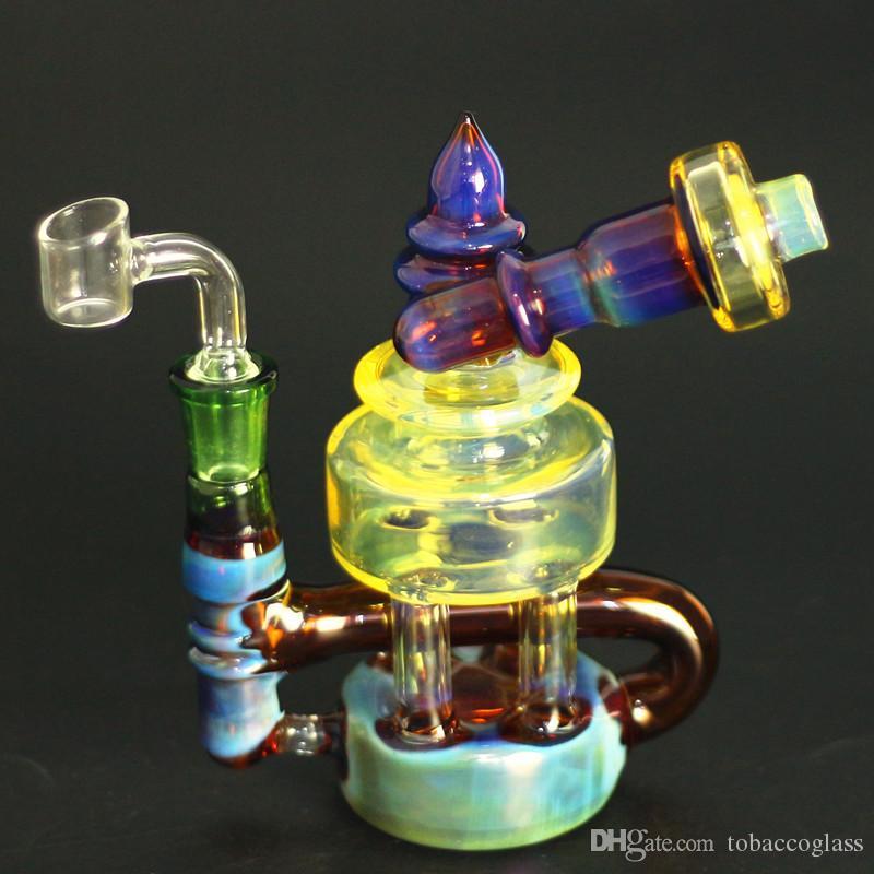 Büyük tasarımlar cam bong, dab kuleleri, Blue ile nargileler isli ve sarı vücut zanaat su borusu 14 mm kase