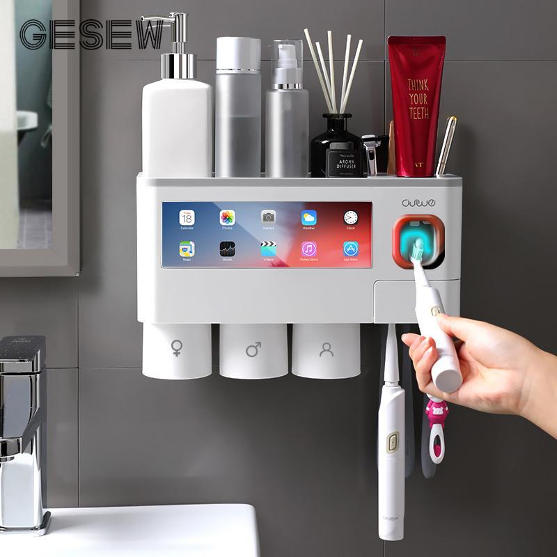 GESEW Manyetik Adsorpsiyon Ters Diş Fırçası Tutucu Otomatik Diş Macunu Sıkacağı Dağıtıcı Depolama Raf Banyo Aksesuarları T200624