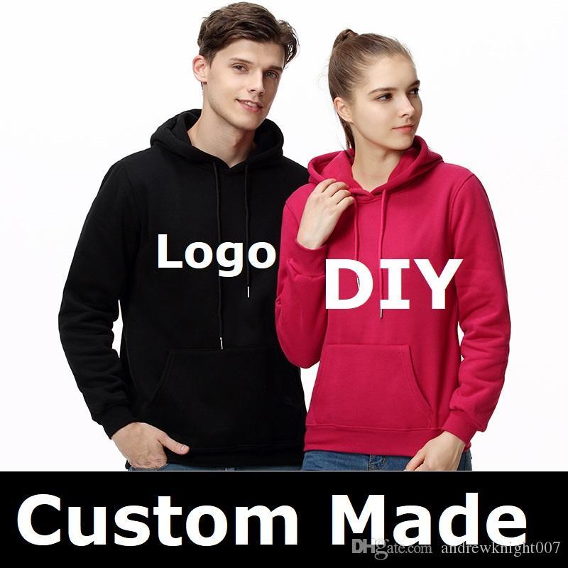 Customize Men Women Unisex Hoodie Sweatshirt Hooded Casual Hoodies Jacket Coats Custom Made Your Logo Design Free shipping S-3XL Plus Size