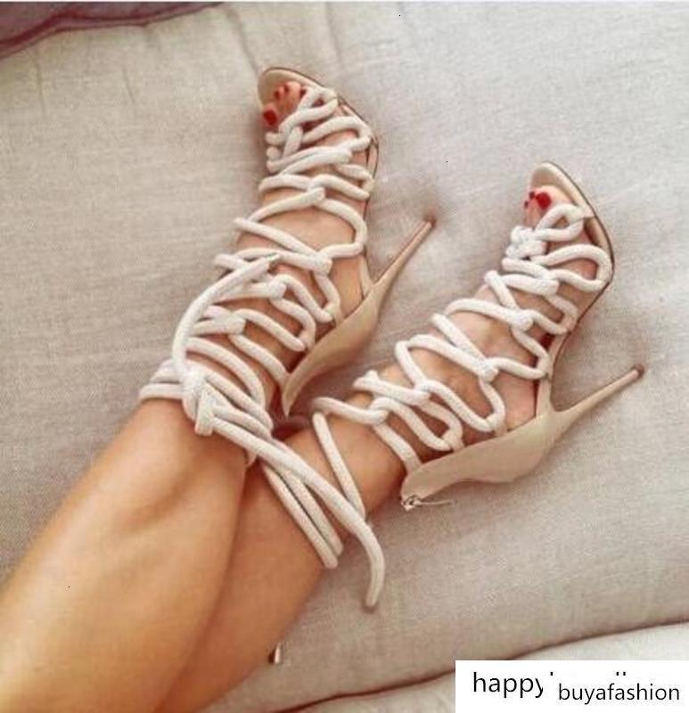 Designer récent Corde tressée à lacets talon haut Sandales sexy toes coupe-Gladiateur Bottes Strappy Sandales Femme Robe Chaussures