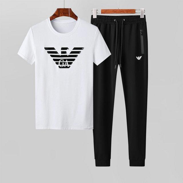 2020 Mercerisieren Cotton Licht Stoff Refreshing Bewegung Freizeit Short Sleeve Suit Male Schlank Weiß Zweiteilige Seti07