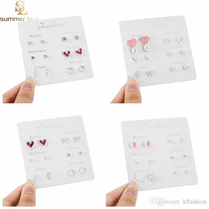 Pendientes de una semana Set Lovely Star Leaf Heart Stud Pendientes para mujeres niñas 6 Pairs / set Exquisita joyería diaria del regalo del partido