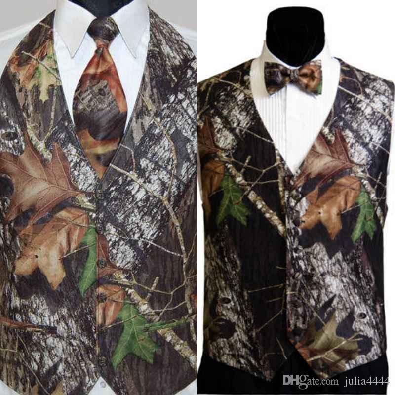 Homens Camo Impresso Coletes do Noivo Coletes de Casamento Camuflagem Slim Fit Mens Coletes 2 Peças Set (Vest + Tie / Laço) Feito personalizado Plus Size