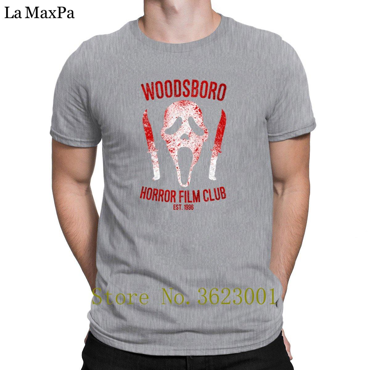 Erkekler Fit 2018 için Boş Tişört Woodsboro Korku Filmi Kulübü İçin Erkekler Komik Mürettebat Boyun Tişörtlü Komik T Gömlek Tasarımları