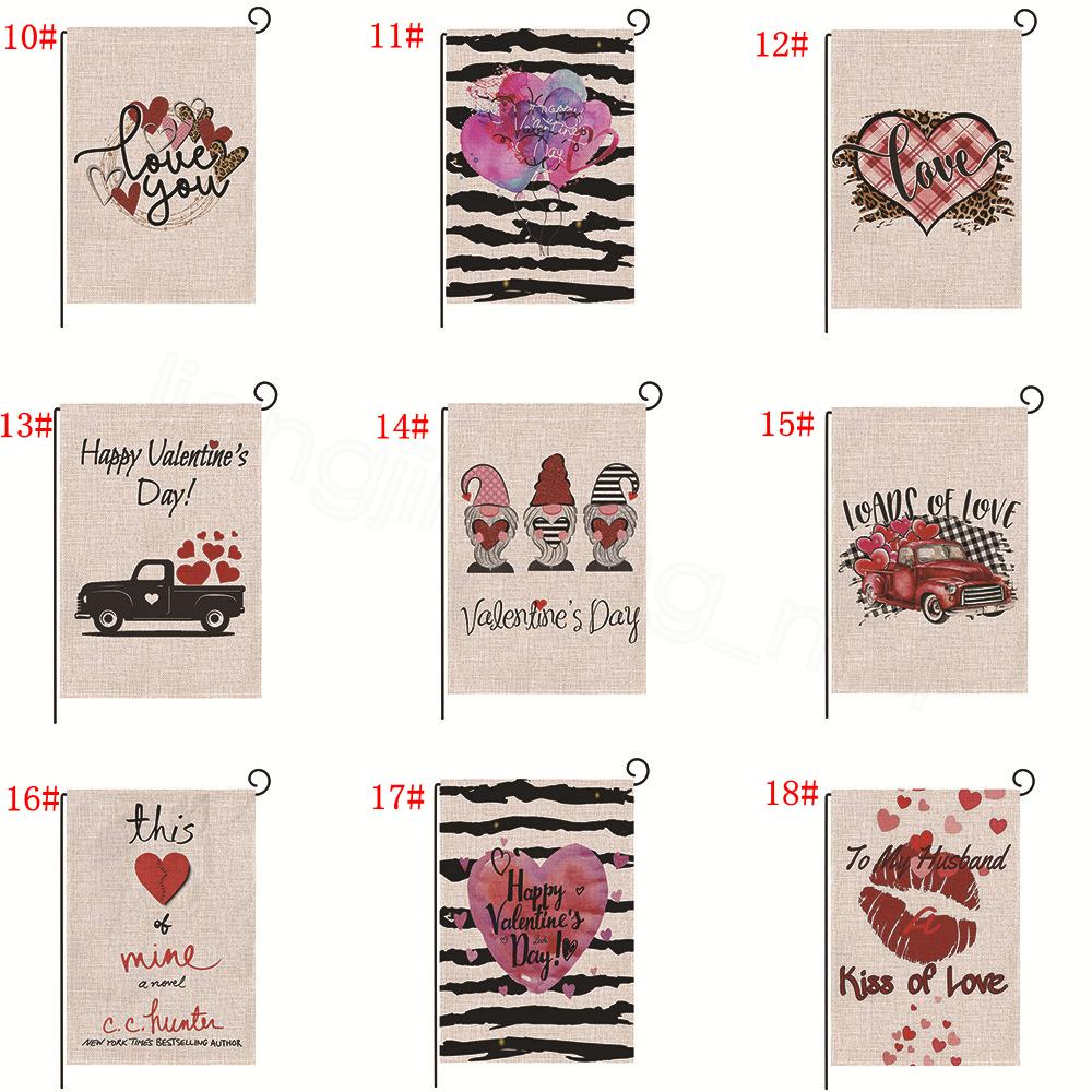 18styles Easter happy valentine's garden flag linen banner Indoor Outdoor party Decor props festival print rabbit banners 47*32CM FFA3451