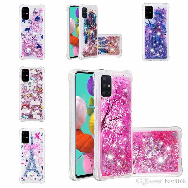 Flower Shockproof Quicksand Soft TPU Case For Samsung S20 Plus S20 Ultra A51 A71 Eiffel Tower Bling Liquid Cover Dreamcatcher Owl Glitter