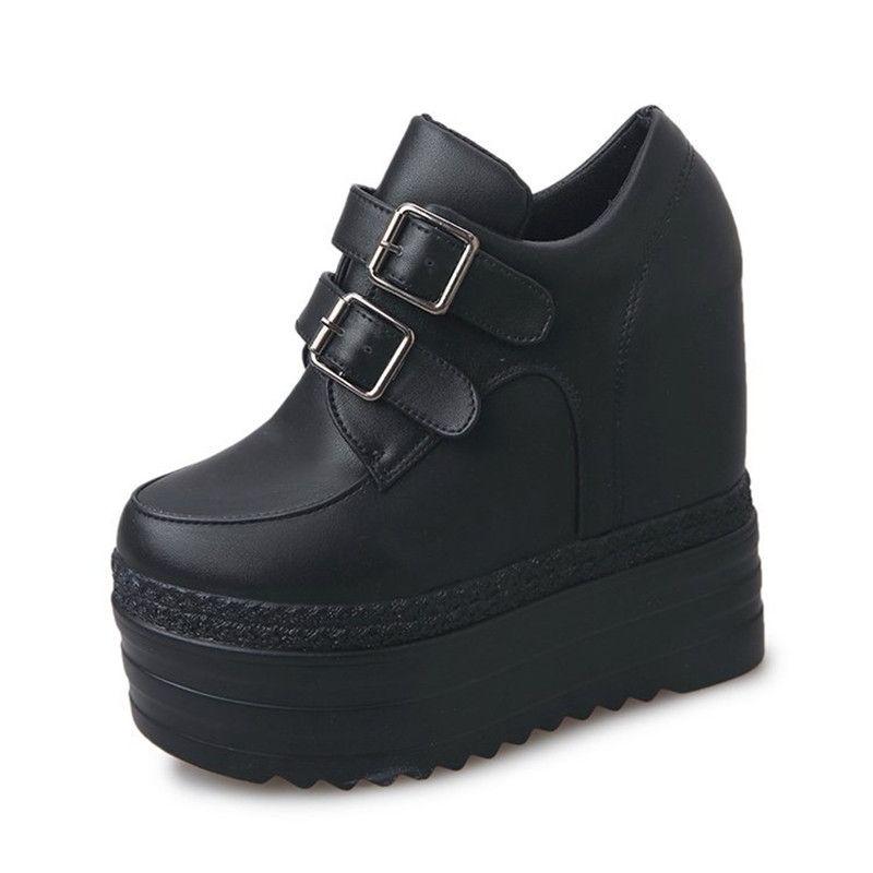Plataformas de zapatos para mujer de Harajuku zapatos de tacones altos 13CM de las cuñas de las mujeres ocasionales blancos gruesos zapatos de las señoras gruesas únicos holgazanes