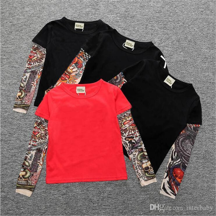 Kids Clothes Boys Hip Hop Tattoo T-shirts Ins Baby Long Sleeve Tops Fashion Printed Tees Cotton Sashimi Shirt Casual Streetwear Tees A6013