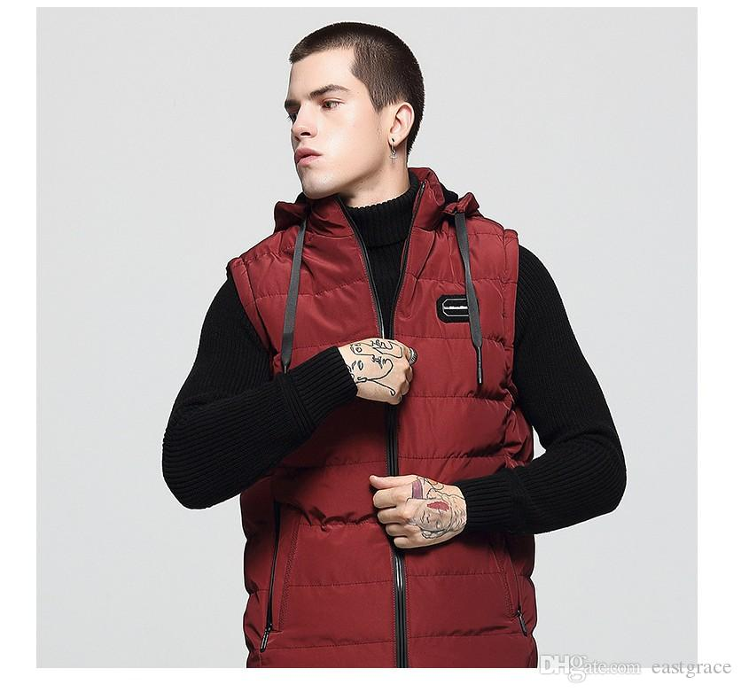 2019 New Design Men Down Vest High Quality Men Hooded Jackets Down Jacket & Outerwear Coat Thick Winter Sportswear Vest for men