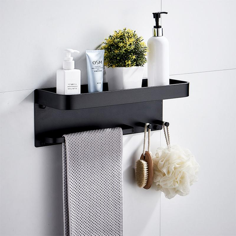 Estante de baño Estante de aluminio Negro Estante de esquina Cuadrado Baño Estante de ducha Montado en la pared Rack Organizador de almacenamiento con ganchos y barra de toalla
