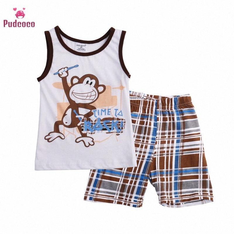 Pudcoco 2020 Verão Bebé da criança Roupa Define mangas dos desenhos animados Imprimir Tops + Shorts da manta de 2pcs Conjuntos de algodão Roupa 2-7Y Noot #