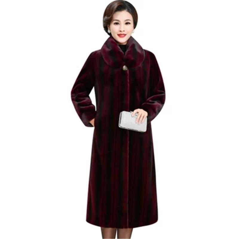 Manteau d'hiver des femmes long et épais chaud en fausse fourrure coréenne Femme Veste de mode Loose Women Plus Size Faux Fur Coat 3XL