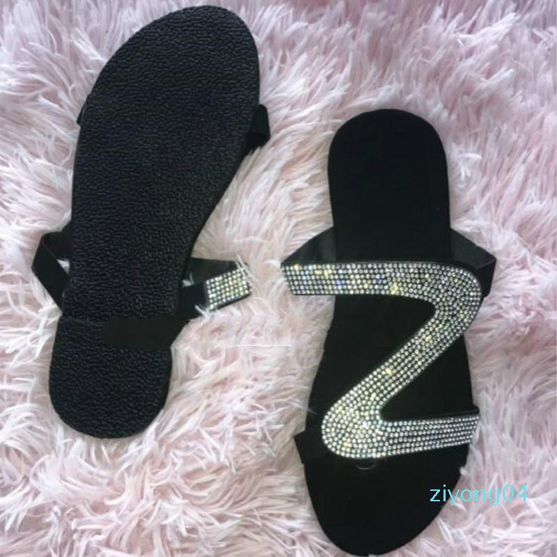 Diapositives Mules Chaussures femmes flip flops pantoufles femmes pour l'été Mules pour flip flops d'Chaussons Femme Femmes Slipper Z04