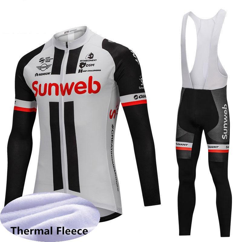 Команда SUNWEB Велоспорт-Джерси мужчины Pro Велоспорт одежда зимний Велоспорт Джерси установить Велоспорт тепловой флис одежда B619-22