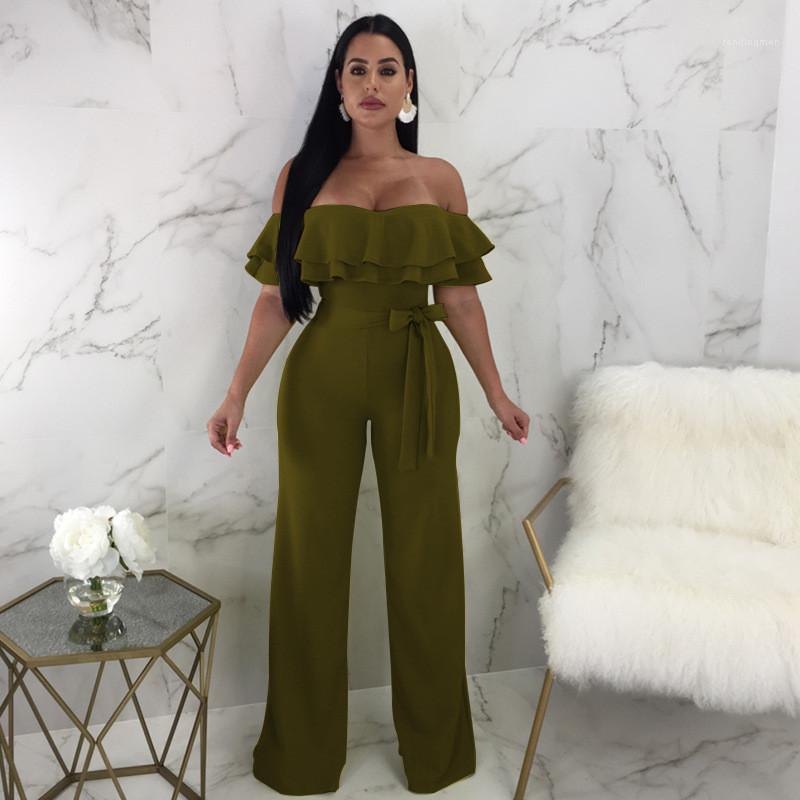 Sexy Ladies macacãozinho Casual respirável vestuário feminino sem alças de Verão das mulheres Macacões Sólidos ombro Cor Off Skinny