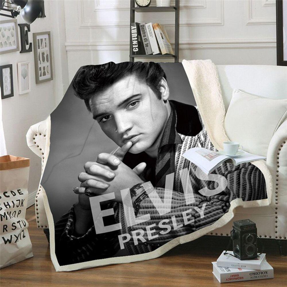 Elvis Presley 3D Decke für Betten Wandern Picknick Dicken Quilt Modische Tagesdecke Fleece Decke Stil-4 Y200417
