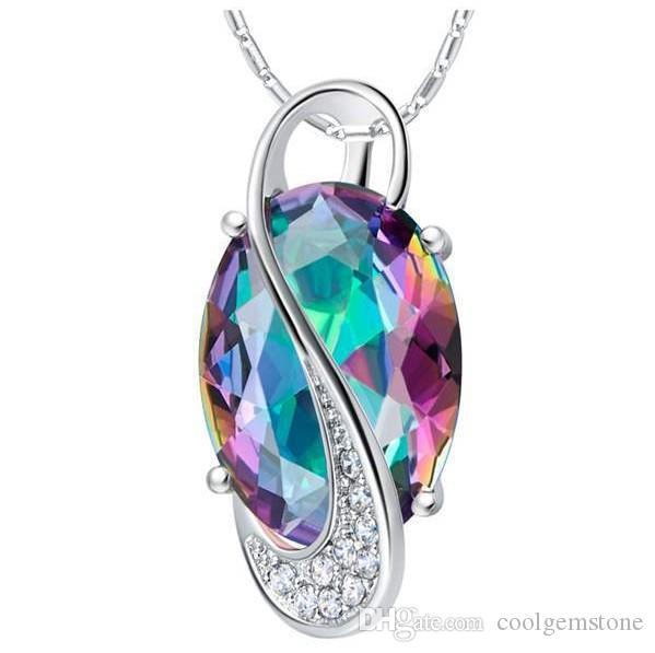 Luckyshine 6 Stück / Los Natürliche Oval Natural Mystic Topaz Regenbogen-Anhänger-Halskette 925 Silber für Danksagungs-Geschenk-Dame Geschenk