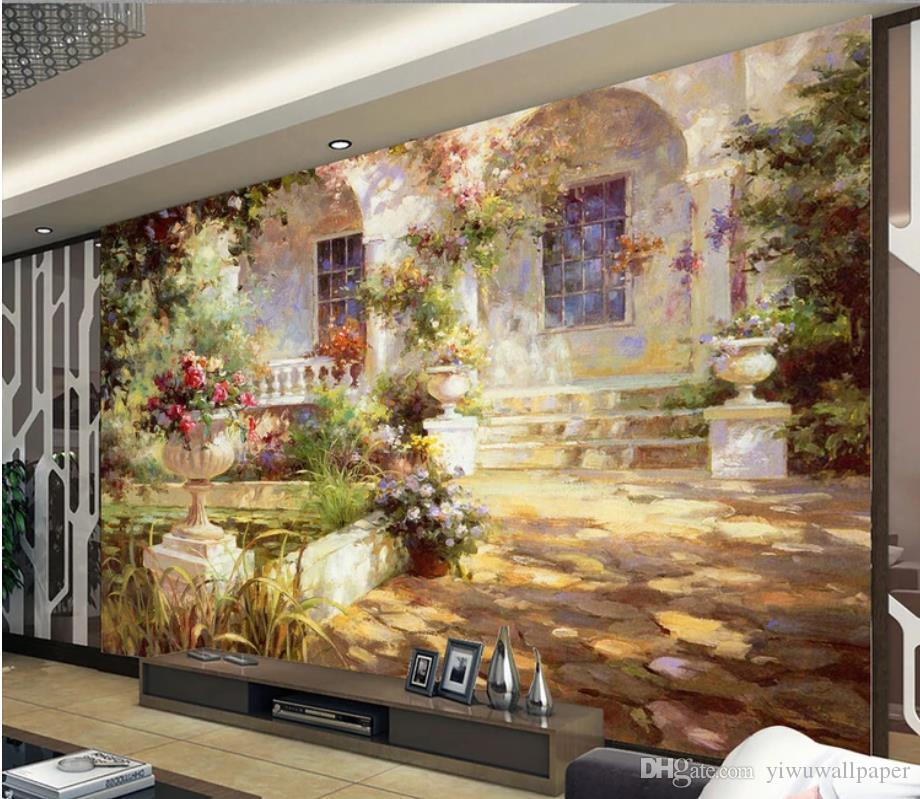 Acheter Paysage Méditerranéen Peinture à L Huile De Fond Peinture Murale Salon Moderne Fonds D écran De 17 09 Du Yiwuwallpaper Dhgate Com