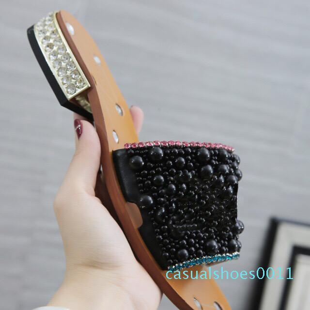 Rhinestone zapatillas de tacón bajo las más nuevas mujeres de la perla negro sandalias de las mujeres trabajo del diseñador del vestido del verano clásica tendencia de la moda del tamaño grande de 43 CC1