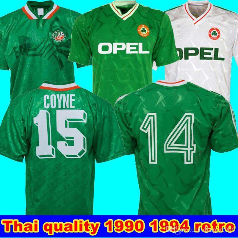 1990 أيرلندا الرجعية جيرسي لكرة القدم 1994 كأس العالم لكرة القدم أيرلندا البيت الأخضر قميص المنتخب الوطني لتخصيص الزي الأبيض بعيدا كرة القدم سال