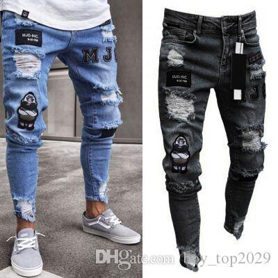 Erkek kot Avrupa ve Amerikan Sokak Lokomotif Erkek kişilik kırışıklık Ince pantolon pantolon moda delik kot S-3XL