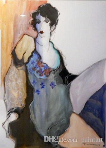 Itzchak Tarkay Figuration Empfang Kunstobjekte Moderne Senhora Porträt Handgemachte Ölgemälde auf Leinwand Konkav und Konvex Texture IT152