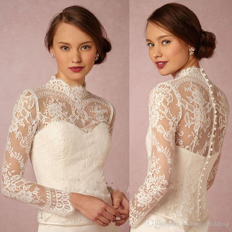 Custom Made 2019 High Neck Bridal Wraps Long Sleeve Wedding Lace Applique Jackets Cheap Bridal Jacket Bolero Jacket Plus Size