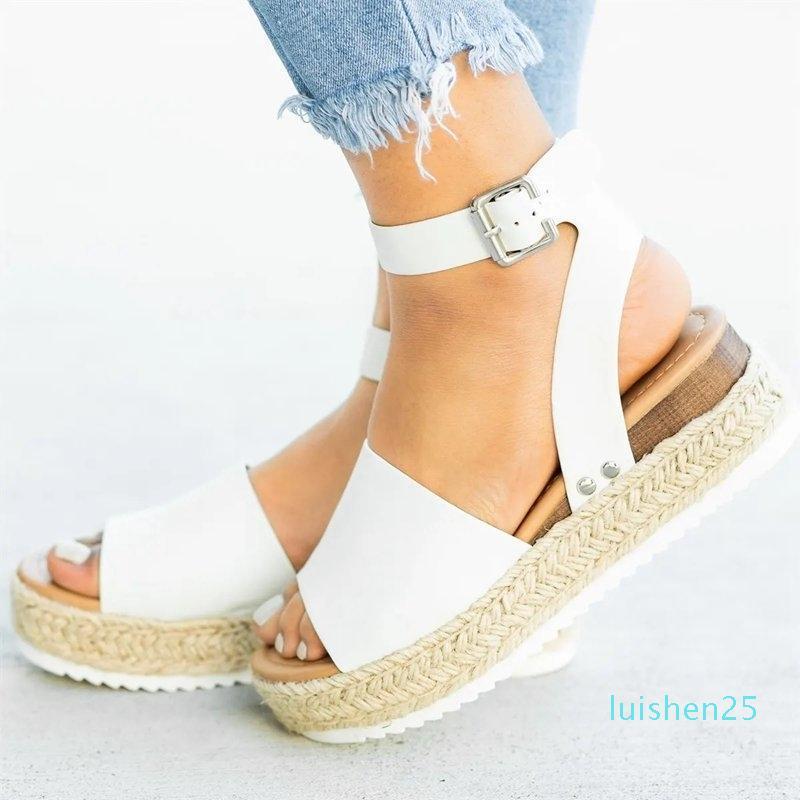 Zapatos Laamei cuñas para las sandalias del tamaño extra grande de los altos talones del verano leopardo Diapositivas Chaussures Femme sandalias de la plataforma 2019 25l