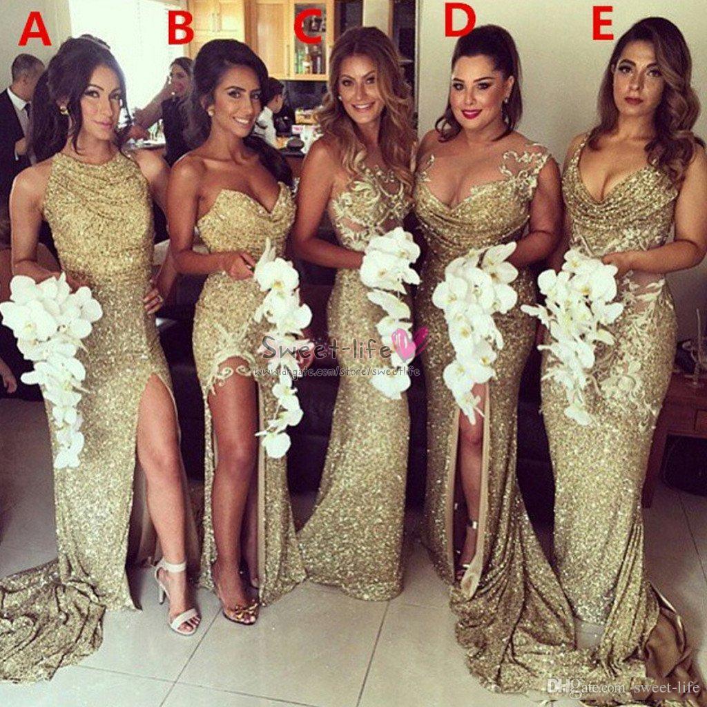 2.020 Tamaño brillantes del oro de Champán de las lentejuelas de dama de honor de la sirena vestidos sin espalda rajó más cuarto de la boda del vestido de noche del honor
