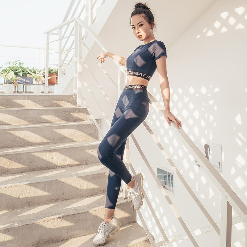 Traje Yoga Mujer seco velocidad camiseta Gao cintura ajustados pantalones Fit Deportes Mujer juego de dos piezas Set Lady Fitness