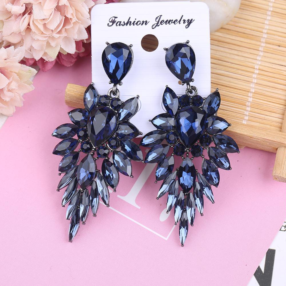Fashion-vestito elegante corrispondenza di cristallo ciondola gli orecchini per gioielli di moda di lusso donne libere di trasporto