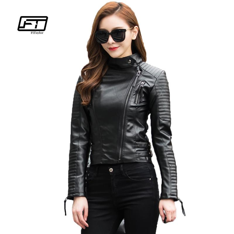 Fitaylor Sonbahar Kadın Punk Deri Ceket Yumuşak PU Faux Deri Kadın Ceketler Temel Bombacı Deri Mont T5190612