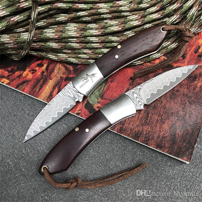 Special Offer Damascus Small Pocket Folding Knife Damascus Steel Blade Rosewood + Steel Handle EDC Pocket Gift Knives