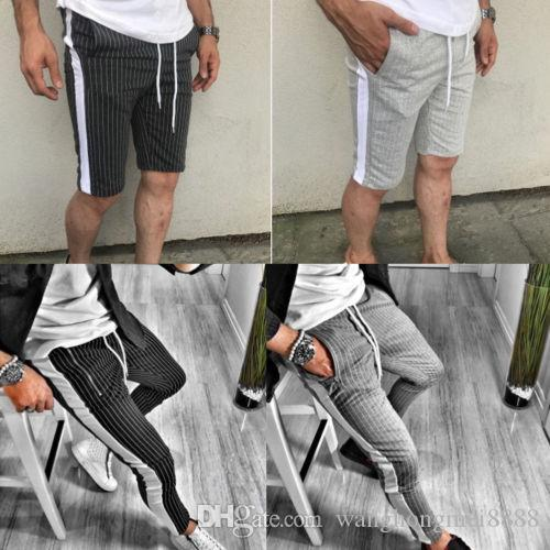 Vente chaude Hommes Petits garçons Mode Pantalons d'été Casual Survêtement Bottoms Skinny jogging Joggings Sweat rayé Pantalon