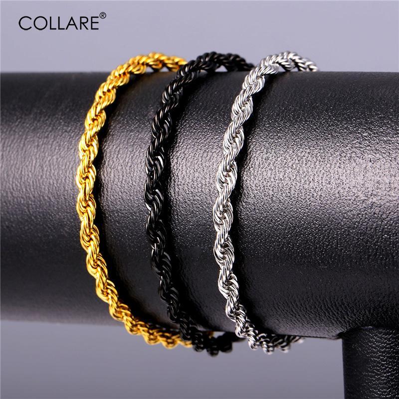 Collare Bilezik Erkekler Altın / Siyah Renk Takı 316L Paslanmaz Çelik Bileklikler Bilezikler Erkekler Twisted Link Zinciri H300