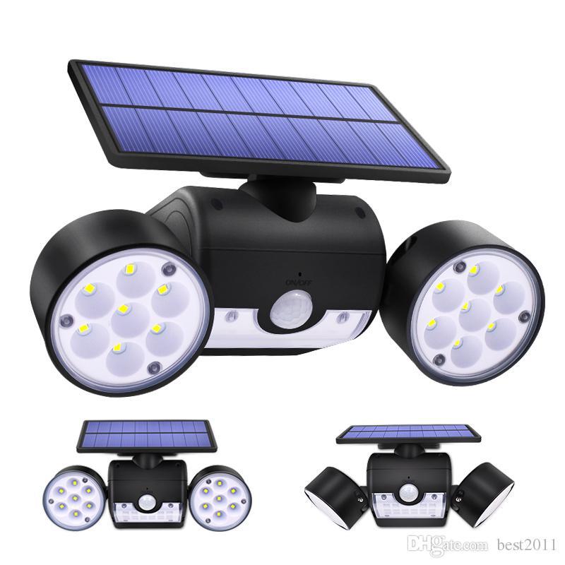 30LED Solar Light Dual Head Solar Lamp PIR Motion Sensor Spotlight Waterproof Outdoor Adjustable Angle Lights For Garden Wall