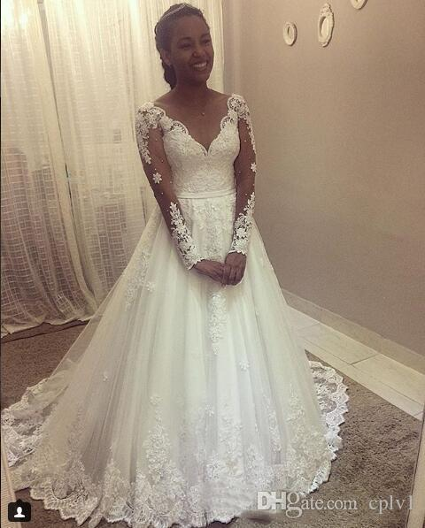 White A Line Tulle Long Sleeve Wedding Dresses Sweetheart Drop Waist 2019 Lace Applique Wedding Gowns Nigeria With Beads H067
