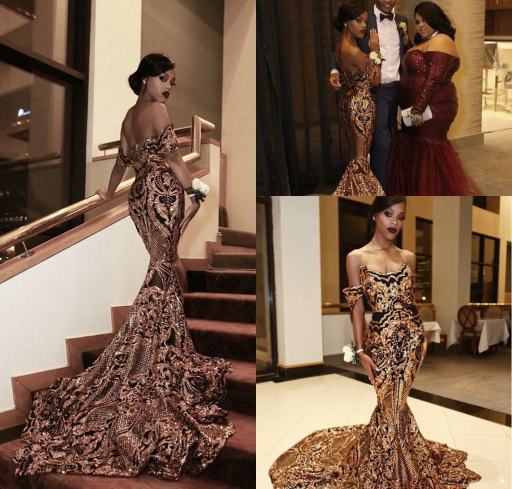 Luxury South African Black Girls Prom Dresses 2019 Mermaid Off Shoulder Holidays Graduation Wear Evening Party Gowns Custom Made Plus Size